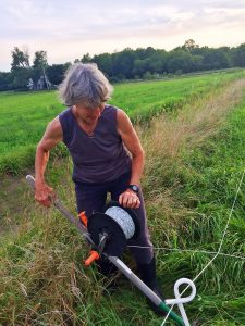 Joan plants the pitchfork after moving the tumblewheel electric line.